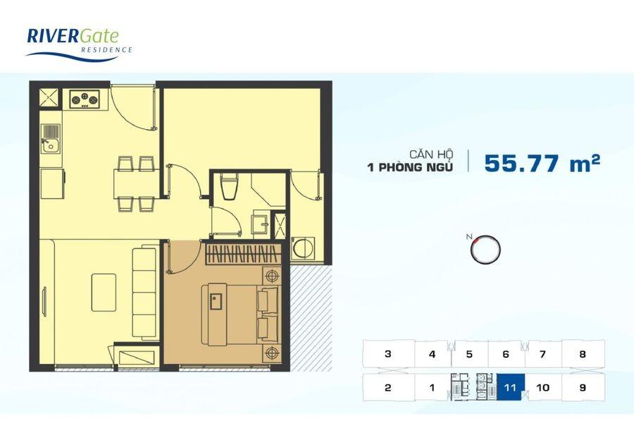 Thiết kế căn hộ River Gate 1PN+1 tại quận 4