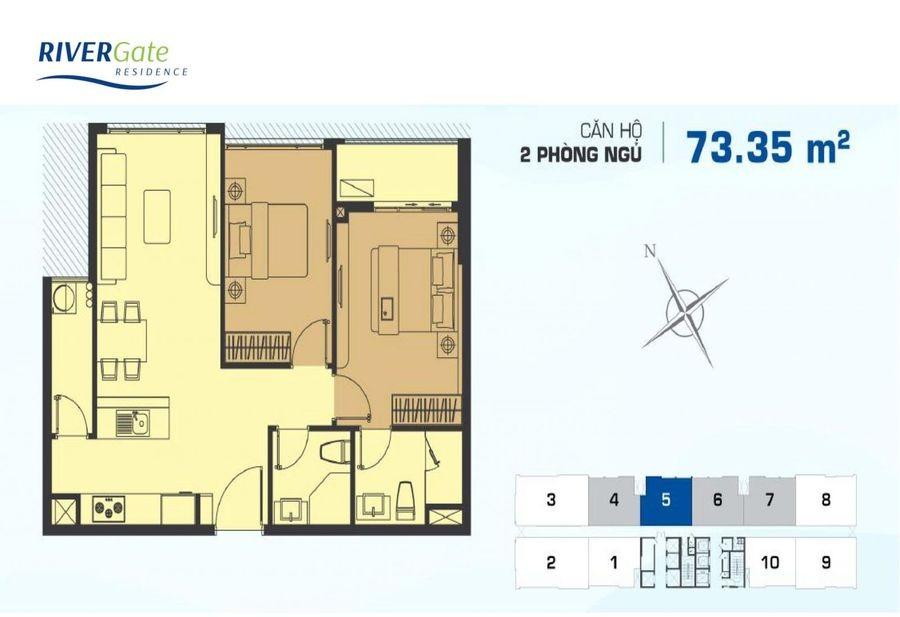 Thiết kế căn hộ River Gate loại 2pn tại quận 4