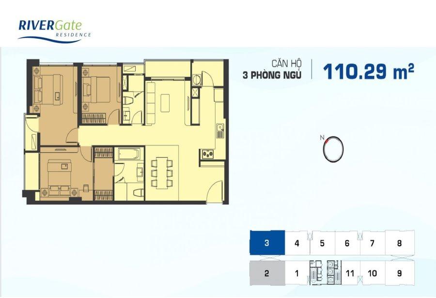Thiết kế căn hộ River Gate loại 3pn tại quận 4