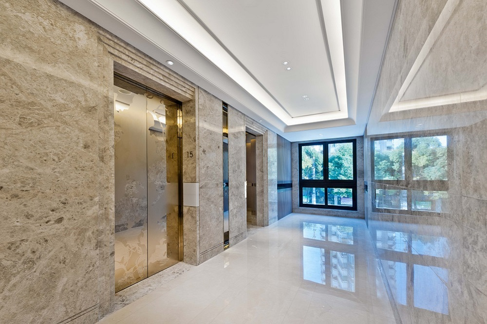Lift lobby in beautiful marble without people