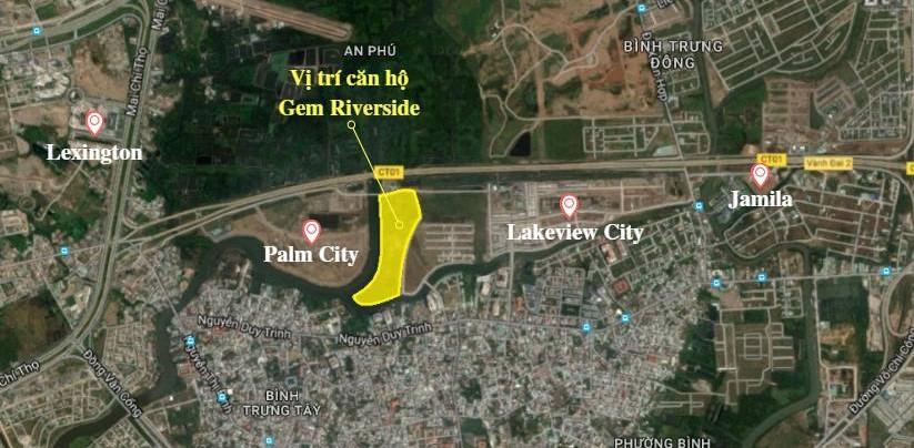Vị trí căn hộ Gem Riverside chụp từ google map