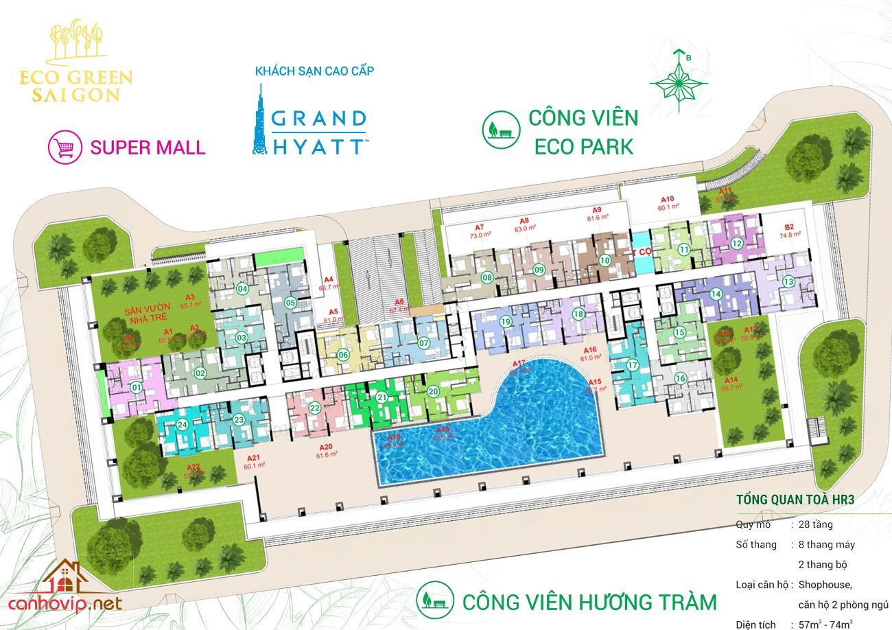 Mặt bằng điển hình căn hộ Eco Green Saigon Quận 7